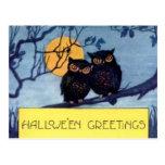 Búhos en una postal de Halloween del árbol