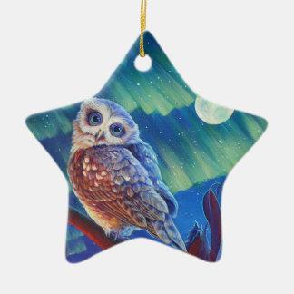 Búhos estrellados adorno navideño de cerámica en forma de estrella