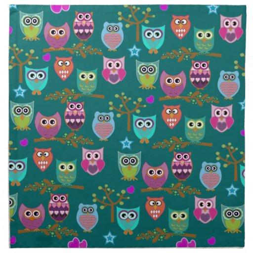 búhos felices servilleta de papel