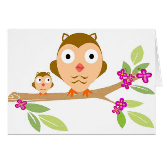 Búhos felices tarjeta de felicitación