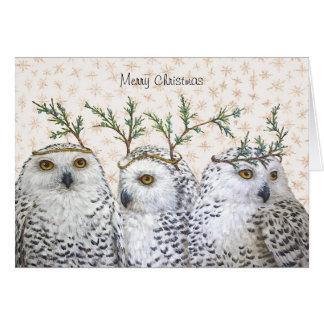 Búhos festivos en tarjeta de Navidad de la nieve