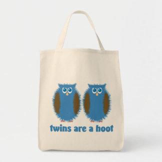 Búhos gemelos azules bolsa tela para la compra