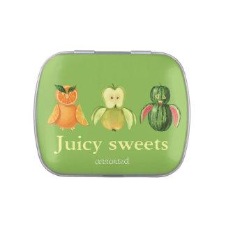 Búhos jugosos de la fruta frascos de dulces