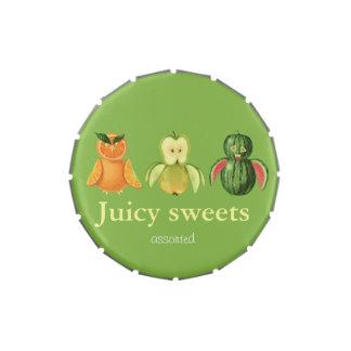 Búhos jugosos de la fruta frascos de caramelos