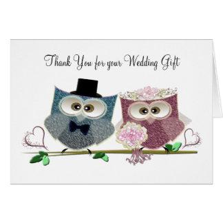 Búhos lindos del boda tarjeta de felicitación