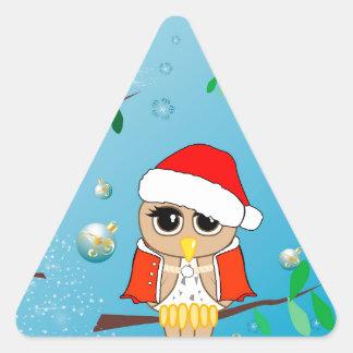 Búhos lindos del navidad calcomanías trianguloes