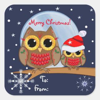 Búhos lindos del navidad y pegatina de encargo del