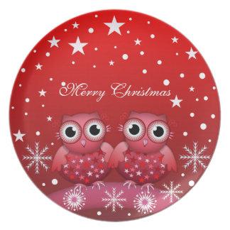 Búhos lindos del navidad y placa de encargo del te platos de comidas