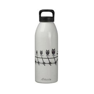 búhos lindos en la bicicleta en tándem botellas de agua reutilizables