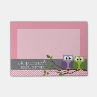 Búhos lindos en rosa de la ducha de la niña de la notas post-it®