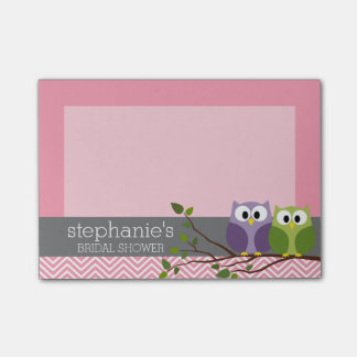 Búhos lindos en rosa de la ducha de la niña de la notas post-it