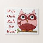 Búhos lindos rojos y corazón del búho rosado del d puzzles con fotos