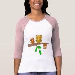 búhos lindos y divertidos camiseta