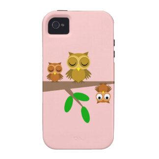 búhos lindos y divertidos vibe iPhone 4 fundas