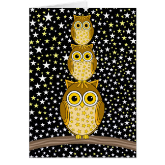 búhos lindos y divertidos tarjeta de felicitación