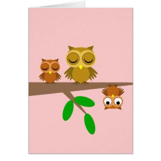 búhos lindos y divertidos tarjeta