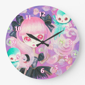 Búhos mágicos reloj redondo grande