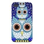 búhos manchados azul lindo iPhone 4 cobertura