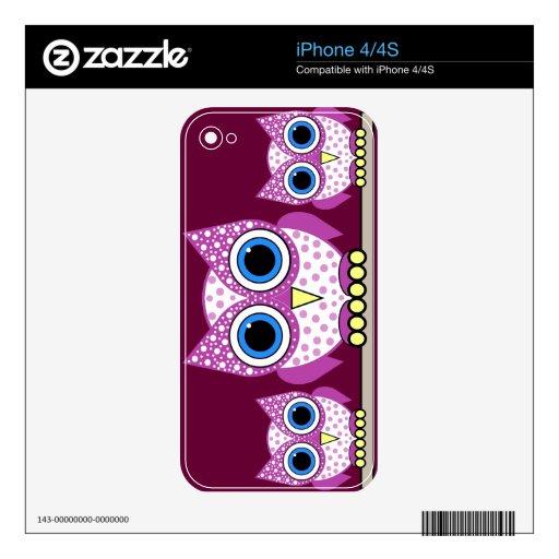 búhos manchados rosa lindo calcomanía para iPhone 4