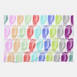 Búhos multicolores toalla