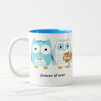 Búhos novia y novio para siempre y nunca - texto d taza de café