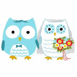Búhos novia y novio - primero del pastel de bodas fotoescultura vertical