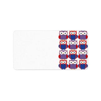Búhos patrióticos adorables etiquetas de dirección