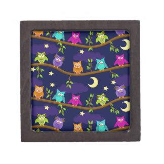 búhos por noche cajas de recuerdo de calidad