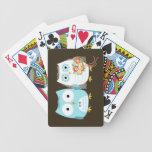 Búhos que se casan - novia y novio lindos baraja de cartas