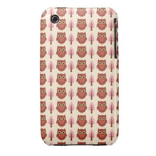 Búhos rojos y árboles rosados iPhone 3 Case-Mate cárcasas