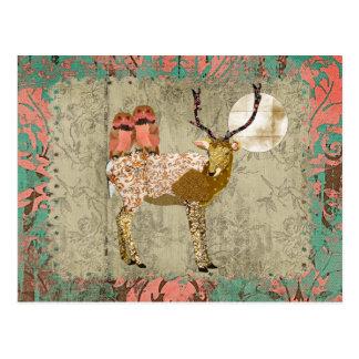 Búhos rosados de oro gitanos y claro de luna postal