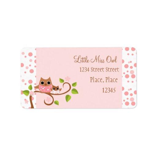 Búhos rosados mamá y bebé etiqueta de dirección