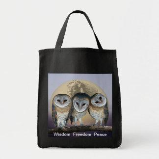 Búhos sagrados bolsa tela para la compra