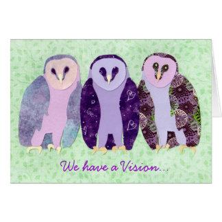 Búhos visionarios tarjeta pequeña