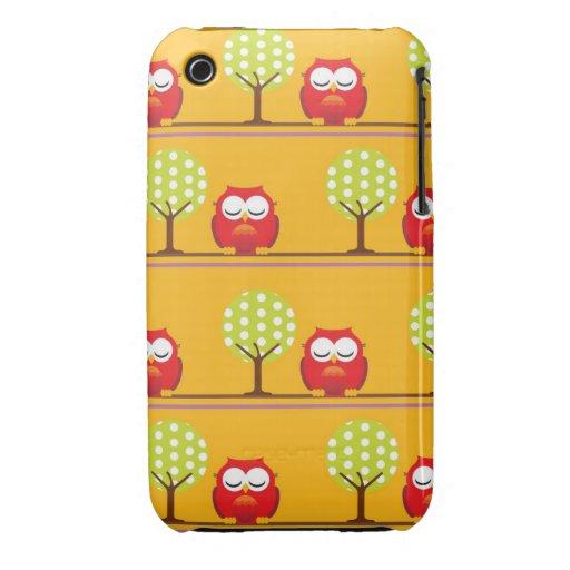 Búhos y árboles iPhone 3 Case-Mate funda