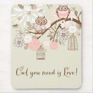 Búhos y Birdcages rosados rústicos Mousepad