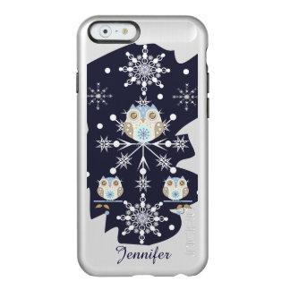Búhos y copos de nieve lindos del invierno funda para iPhone 6 plus incipio feather shine
