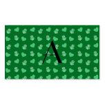 Búhos y corazones verdes del monograma tarjeta de visita