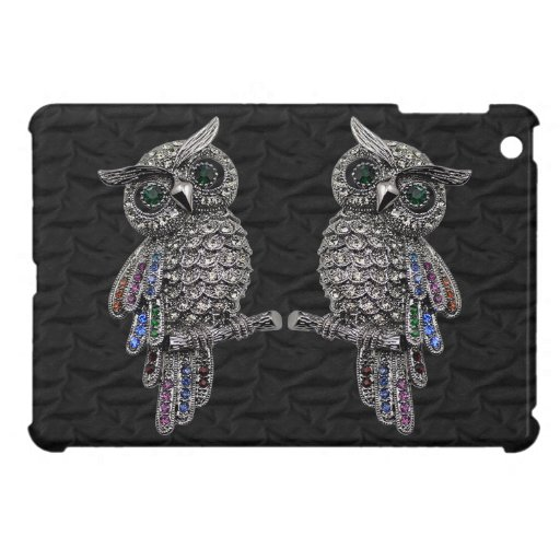 Búhos y joyas impresos plata iPad mini cobertura
