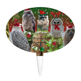 Búhos y mapache de los Critters del navidad Figuras De Tarta