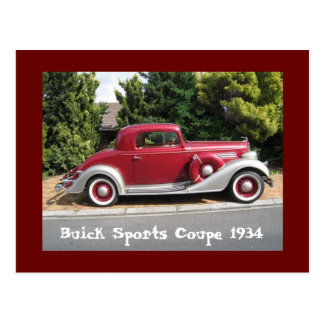 Buick Sports Coupe 1934 Postcard