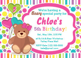 Build a bear invitations announcements zazzle build a bear girls birthday party invitation filmwisefo Images