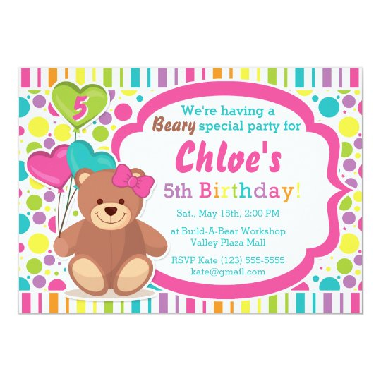 Build A Bear Girls Birthday Party Invitation Zazzlecom