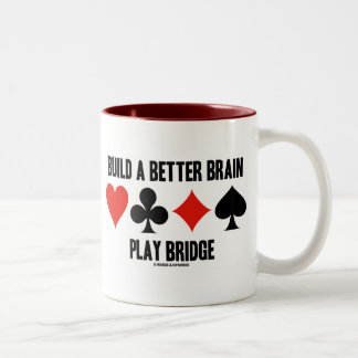Build A Better Brain Play Bridge (Card Suits) Two-Tone Coffee Mug