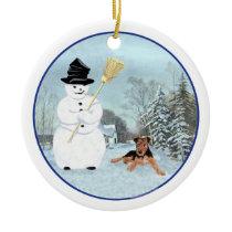 Build a Snowman Ceramic Ornament