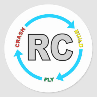 Build Crash Fly RC Classic Round Sticker