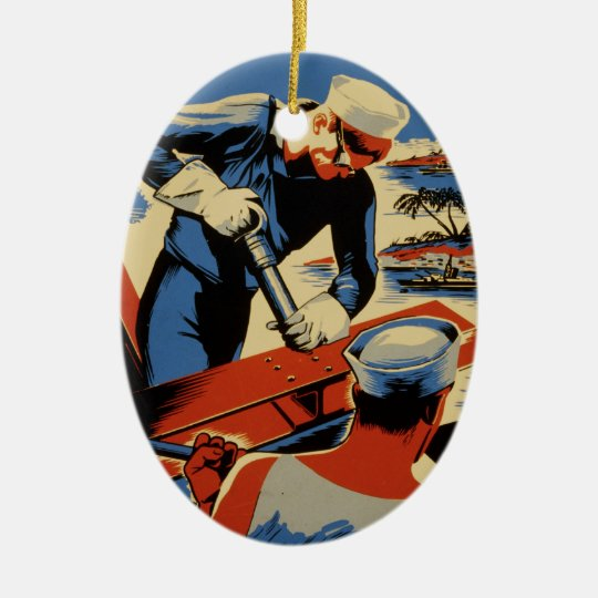 Build for your Navy Ceramic Ornament