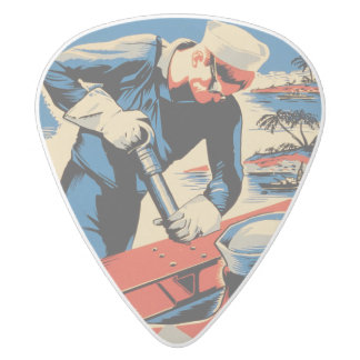 Build for your Navy! White Delrin Guitar Pick