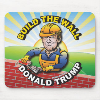 BUILD THE WALL DONALD TRUMP BRICK LAYER MASON USA MOUSE PAD