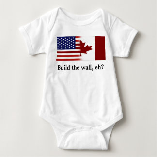 Build the wall, eh? (Btw USA and Canada) Baby Bodysuit